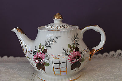 Ellgreave Ironstone England Teapot - Floral With Gold Trim