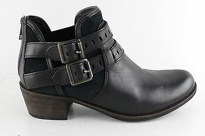 Women's UGG Black Leather Ankle Boots Size 8