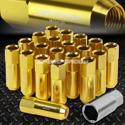 20X Racing Rim 60Mm Extended Anodized Wheel Lug Nut+Adapter Key Gold