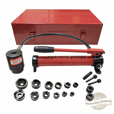 """New 10T Hydraulic Knockout Punch Hand Pump 6 Dies Hole Tool Driver Kit 1/2 to 2"""""""