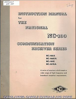 NATIONAL Manual NC-100 COMMUNICATION RECEIVER SERIES