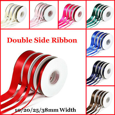 25Yards Double Sided Faced SATIN Quality Tying Ribbon 10,20,25 & 38mm Widths