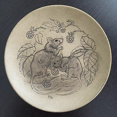 Vintage Poole Pottery Stoneware TWO RATS Art Barbara Linley Adams Small Plate NR