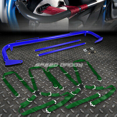 """Blue 49""""stainless Steel Chassis Harness Bar+Green 4-Pt Strap Camlock Seat Belt"""