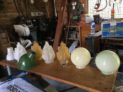 box of antique glass lampshades