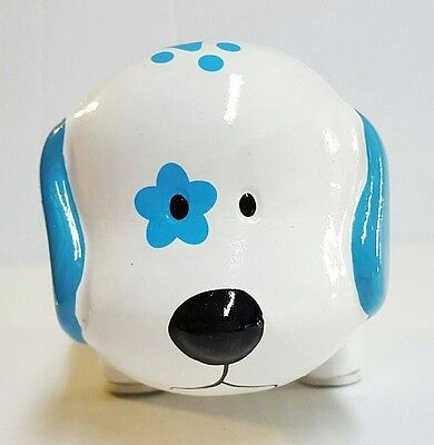 White Blue Paws Mini Ceramic Dog Piggy Bank Large Slot Coins Bills Money Save