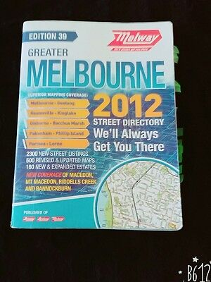 Melway 2012 Street Directory - Edition 39 in Excellent Condition. Alphabetically