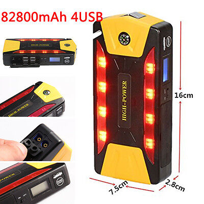 Portable 82800mAh Power Bank Vehicle Car Jump Starter Pack Auto Booster 4 USB