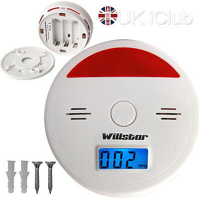 UK Carbon Monoxide Co Detector Poisoning Gas Warning Fire Alarms Sensor Monitor