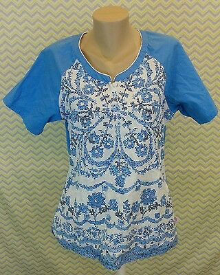 Skechers Large Women's Medical Short Sleeve Scrub Top Blue & White