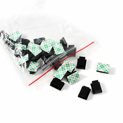 30X Cable Clips Adhesive Cord Black Management Wire Holder Organizer Clamp