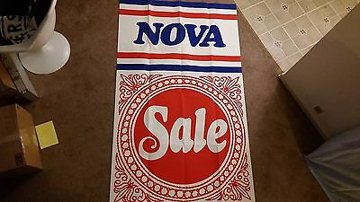Large Vintage 1960s 70s Chevy Nova Car Dealership Window Trim Showroom Poster
