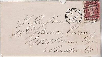 1873 QV RAMSGATE COVER WITH FINE 1d RED STAMP SENT TO Y JONES IN LONDON