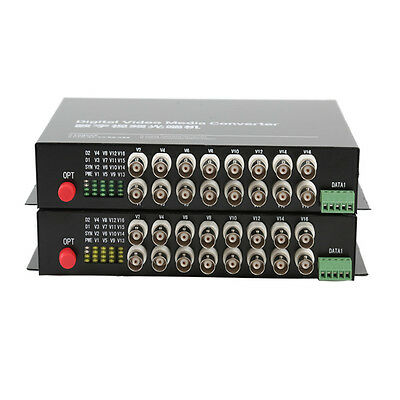 16CH Video Fiber optic Media Converter for CCTV  - RS485 data FC S/M 20Km 1Pair