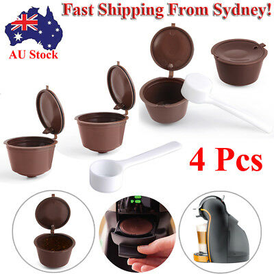 AU 2~4 Reusable Refillable Coffee Capsules Pods Cups for Nescafe DOLCE GUSTO HOT
