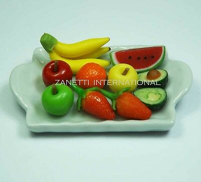10 Mixed Dollhouse Miniature Fruit on Ceramic Tray * Mini Food Plate Apples