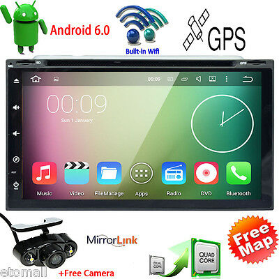 """7"""" Android 6.0 Double 2 DIN Quad-Core Car GPS Stereo DVD Player Wifi 4G BT Radio"""