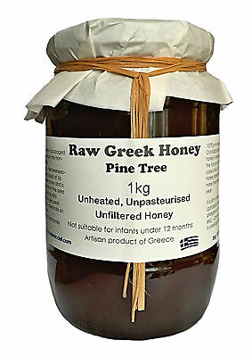 Raw Honey - Greek Pine honey 1 kg - (unfiltered, pesticides or chemicals FREE)