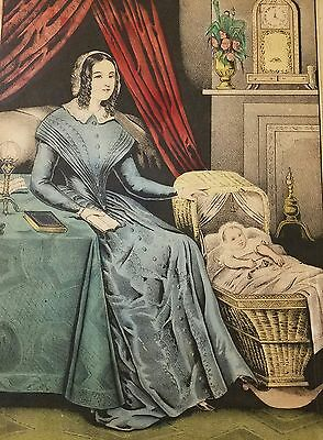 """1847 Nathaniel Currier(Currier & Ives)""""A Year After Marriage"""" Color Lithograph"""