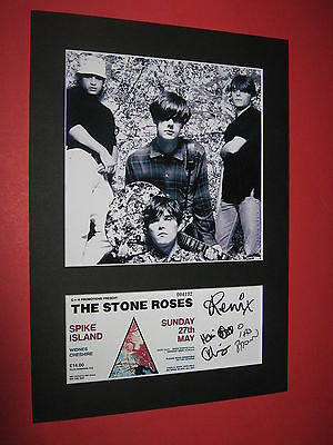 Stone Roses A4 Photo Mount Signed Pre-Printed Spike Island Ticket Ian Brown