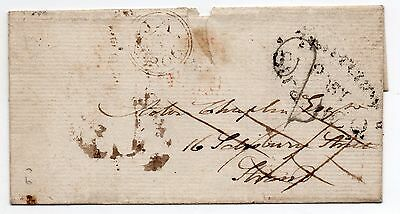 1806 turned cover posted London with Hand struck 2 address crossed out & re-used