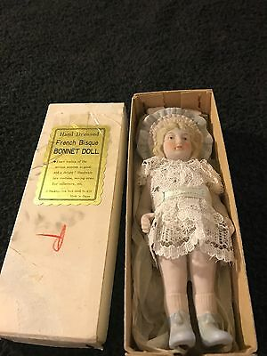 shackman doll French Bisque Bonnet Doll Made In Japan 5 1/2 Inches