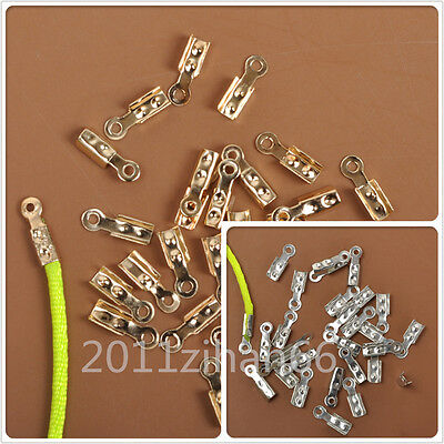 200pcs Fold Over End beads Cord Crimp jewelry making Design connectors 8x2mm