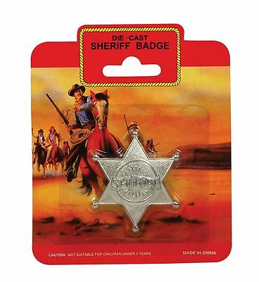 Cowboy Cowgirl Sheriff Metal Diecast Badge Silver Fancy Dress Accessory Western
