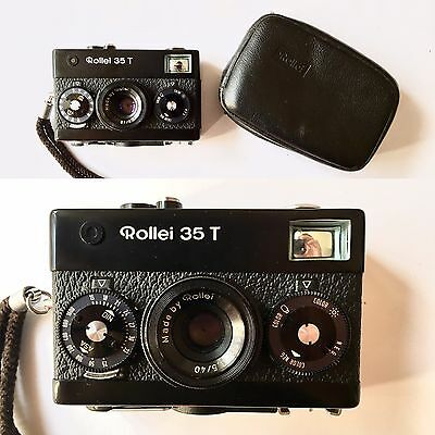Rollei 35 T Black + Zeiss Tessar 40mm f3.5 + Original bag | EXCELLENT +++++
