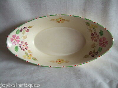Ridgways Shelton England Floral Boat Shaped Hand Painted Dish. Green Trim 1940's