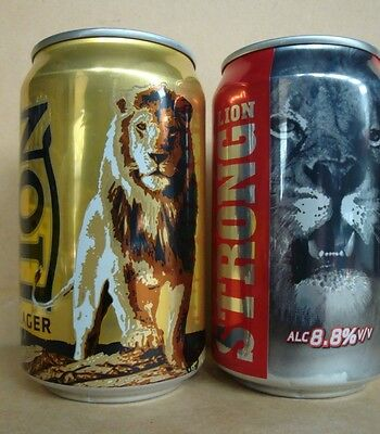 Lion Lager & Lion Strong 330ml. beer cans