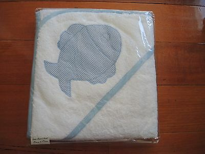 Baby bath hooded towelling wrap with Blue fish and piping Hand Made Brand New