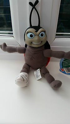 """Bugs Life Francis Ladybird Plush Toy With Labels 9"""" Plastic Head Brand New"""