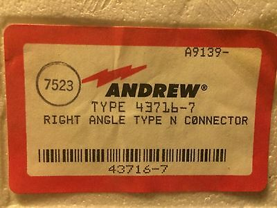 Andrew 43716-7 (L4PNR) Right Angle Type-N Connector for LDF4-50 Coax Cable