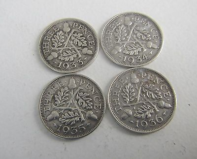 4 Old George V Threepence Silver Coins - 1933-36