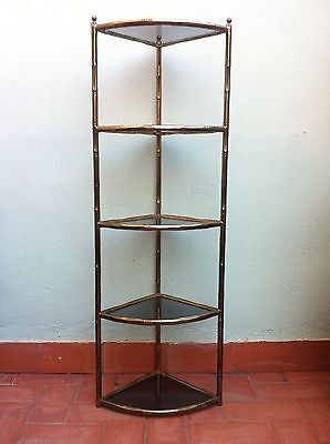 Mid Century 1950s Faux Bamboo Corner Etagere Shelving System and Smoked Glasses