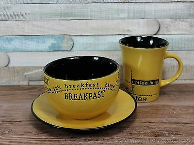 Yellow breakfast set mug bowl and plate set coffee tea time