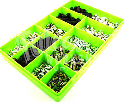 520 Assorted M3 M4 M5 M6 Knurled Steel Stainless Rubber Aluminium Rivet Nuts Kit