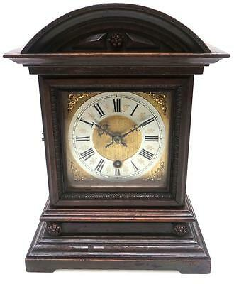 19THC Amazing Antique German Miniature Oak Domed Top 8 Day Carved Bracket Clock