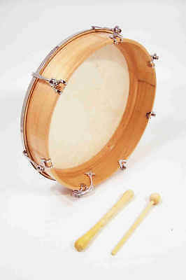"""Tunable Frame Drum, with natural goat skin vellum head 14"""" diameter"""