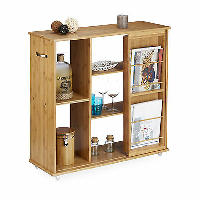 Rolling Bamboo Corner Shelf with Magazine Holder, with Wheels, Side Serving Cart