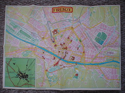 Map Of Firenze Florence Italy 80S? Tourist Paper Map