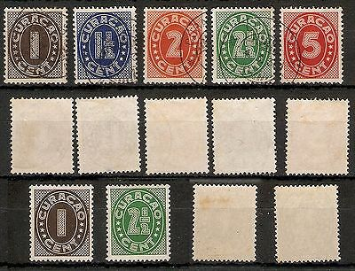 CURACAO - 1942 - Numerals Set - VFU - (Plus 2 No, mint lightly hinged)