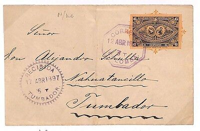 S282 1897 Guatemala Superb Arrival Postal Stationery Cover {samwells-covers}PTS