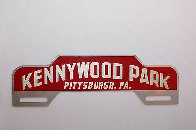 Rare Unused Kennywood Park Pittsburgh Pa. Red Reflective  License Plate Topper