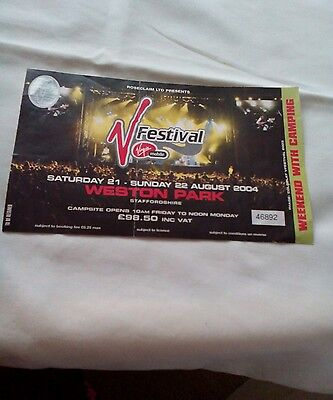 Used V Festival Ticket 21&22Nd August 2004