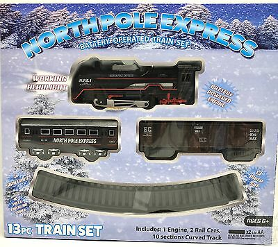 Train Set Locomotive Passenger and Rail Cars Tracks Battery Operated 13pc