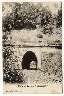 Vintage AUSTRALIAN PHOTOGRAPH POSTCARD 1909- MULLUMBIMBY RAILWAY TRAIN TUNNEL