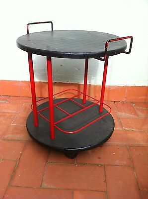 Vintage Italian Round Plastic 70s-80s Drinks Trolley Bar Cart Cocktail cabin
