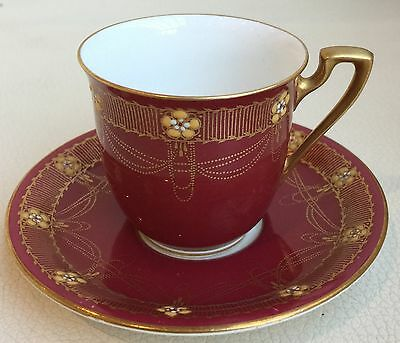 1920s ROYAL WORCESTER GILDED DEMI TASSE COFFEE CUP & SAUCER FOR MAPPIN & WEBB